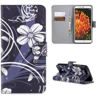 Plånboksfodral Huawei Y6 2018 - Svart med Blommor