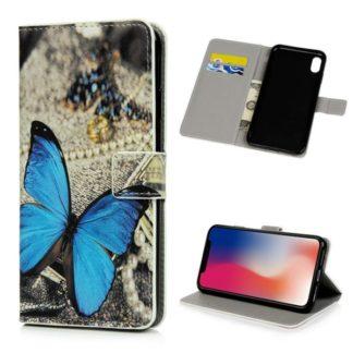 Plånboksfodral iPhone XS Max - Blå Fjäril