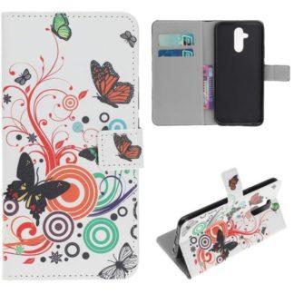 Plånboksfodral Huawei Mate 20 Lite - Vit med Fjärilar