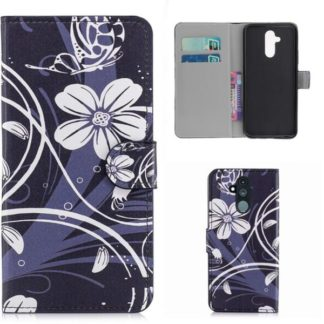 Plånboksfodral Huawei Mate 20 Lite - Svart med Blommor