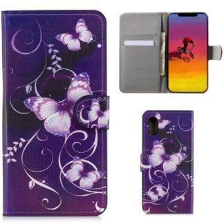 Plånboksfodral Apple iPhone XS Max - Lila med Fjärilar