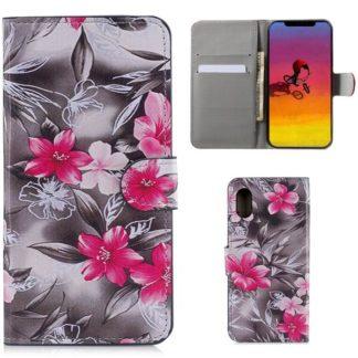 Plånboksfodral Apple iPhone XR - Svartvit med Blommor