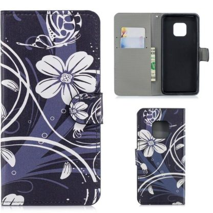 Plånboksfodral Huawei Mate 20 Pro - Svart med Blommor