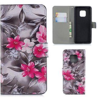 Plånboksfodral Huawei Mate 20 Pro - Svartvit med Blommor