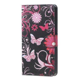 Plånboksfodral Samsung Galaxy J6 Plus - Svart med Fjärilar
