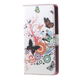 Plånboksfodral Samsung Galaxy J6 Plus - Vit med Fjärilar