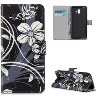 Plånboksfodral Samsung Galaxy J6 Plus - Svart med Blommor