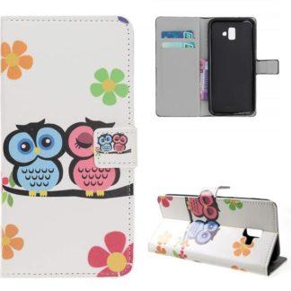 Plånboksfodral Samsung Galaxy J6 Plus - Ugglor & Blommor