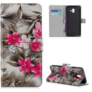 Plånboksfodral Samsung Galaxy J6 Plus- Svartvit med Blommor