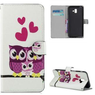 Plånboksfodral Samsung Galaxy J6 Plus - Ugglor & Hjärtan