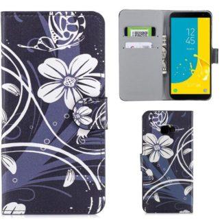 Plånboksfodral Samsung Galaxy J4 Plus - Svart med Blommor