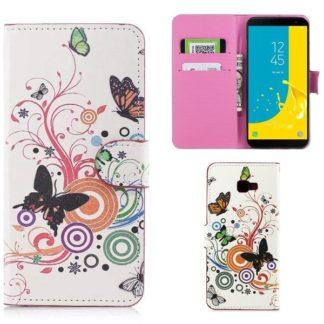 Plånboksfodral Samsung Galaxy J4 Plus - Vit med Fjärilar