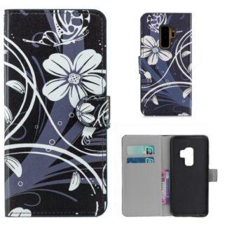 Plånboksfodral Samsung Galaxy S9 Plus - Svart med Blommor