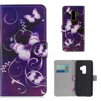 Plånboksfodral Samsung Galaxy S9 Plus - Lila med Fjärilar
