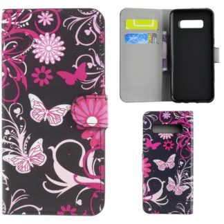 Plånboksfodral Samsung Galaxy S10 Plus - Svart med Fjärilar