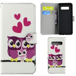Plånboksfodral Samsung Galaxy S10 Plus - Ugglor & Hjärtan
