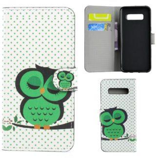 Plånboksfodral Samsung Galaxy S10 Plus - Prickigt med Uggla