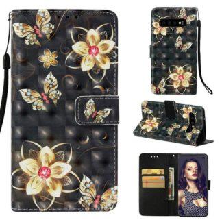 Plånboksfodral Samsung Galaxy S10 – Blommor i Guld