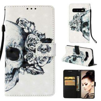 Plånboksfodral Samsung Galaxy S10 – Döskalle / Rosor
