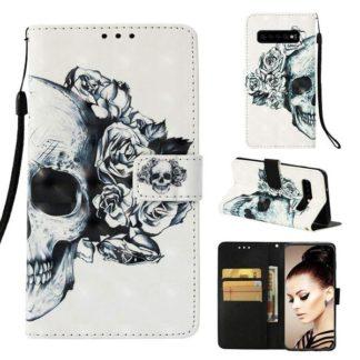 Plånboksfodral Samsung Galaxy S10 Plus – Döskalle / Rosor