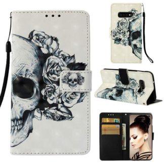 Plånboksfodral Samsung Galaxy S10e – Döskalle / Rosor