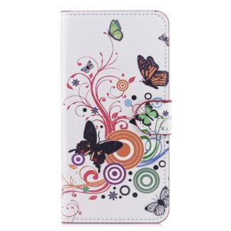 Plånboksfodral Samsung Galaxy S10e - Vit med Fjärilar
