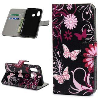 Plånboksfodral Samsung Galaxy A40 - Svart med Fjärilar