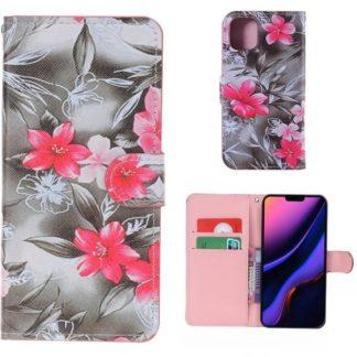 Plånboksfodral Apple iPhone 11 Pro - Svartvit med Blommor