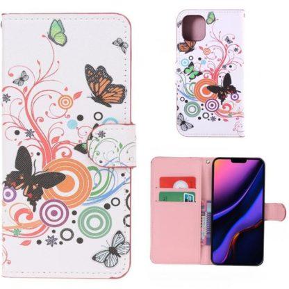 Plånboksfodral Apple iPhone 11 Pro - Vit med Fjärilar