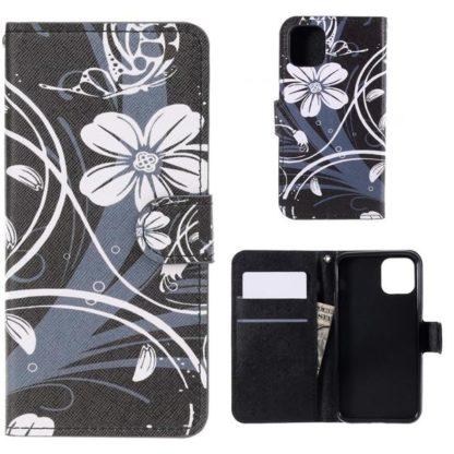 Plånboksfodral Apple iPhone 11 Pro Max - Svart med Blommor