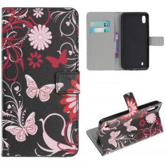 Plånboksfodral Samsung Galaxy A10 - Svart med Fjärilar