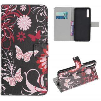 Plånboksfodral Samsung Galaxy A70 - Svart med Fjärilar