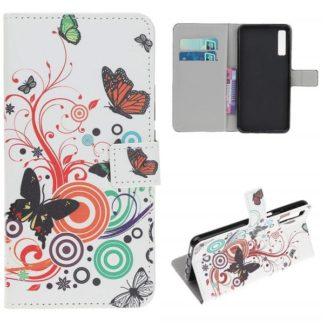 Plånboksfodral Samsung Galaxy A70 - Vit med Fjärilar