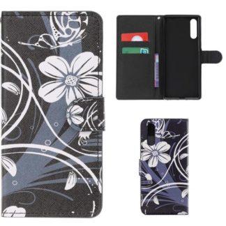 Plånboksfodral Samsung Galaxy A70 - Svart med Blommor
