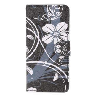Plånboksfodral Samsung Galaxy A10 - Svart med Blommor