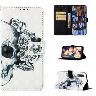 Plånboksfodral Samsung Galaxy A50 – Döskalle / Rosor