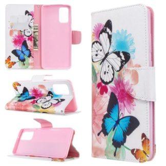 Plånboksfodral Samsung Galaxy S20 Plus – Färgglada Fjärilar