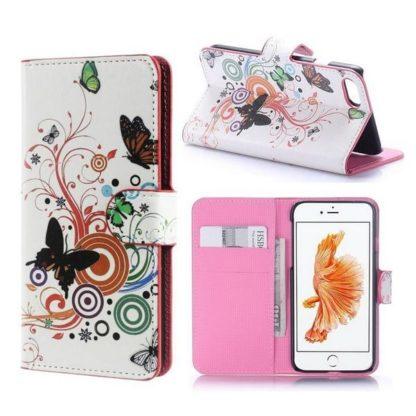 Plånboksfodral iPhone SE (2020) - Vit med Fjärilar