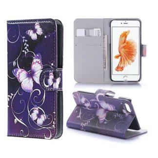 Plånboksfodral iPhone SE (2020) - Lila med Fjärilar