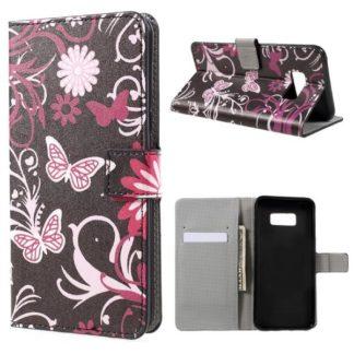 Plånboksfodral Samsung Galaxy S8 Plus - Svart med Fjärilar