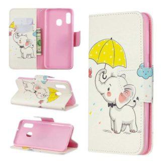 Plånboksfodral Samsung Galaxy A40 – Elefant med Paraply