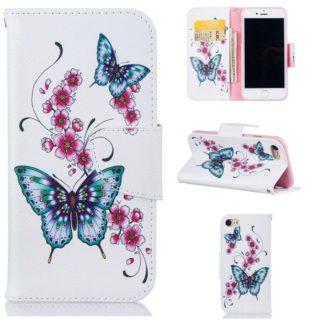 Plånboksfodral Apple iPhone 7 – Fjärilar och Blommor