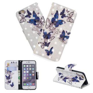 Plånboksfodral iPhone 6 – Blåa och Vita Fjärilar