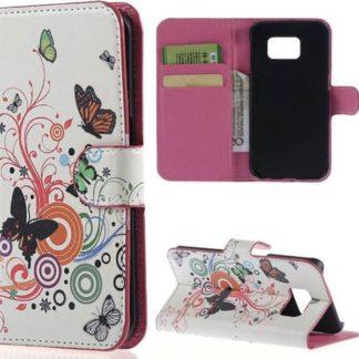 Plånboksfodral Samsung Galaxy S6 Edge - Vit med Fjärilar