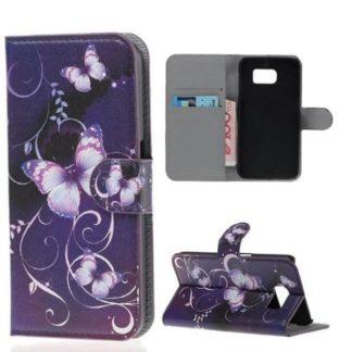 Plånboksfodral Samsung Galaxy S7 – Lila med Fjärilar