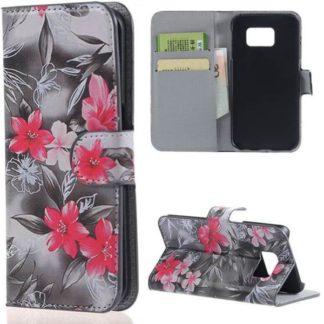 Plånboksfodral Samsung Galaxy S7 Edge – Svartvit med Blommor