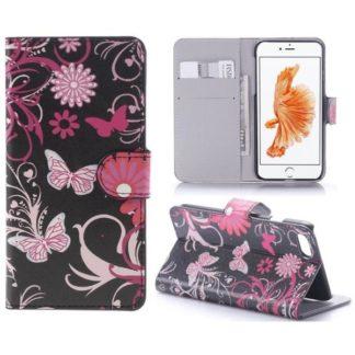 Plånboksfodral Apple iPhone 7 - Svart med Fjärilar
