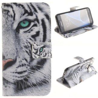 Plånboksfodral Samsung Galaxy S7 Edge – Vit Tiger