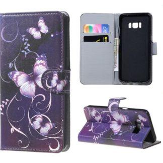 Plånboksfodral Samsung Galaxy S8 – Lila med Fjärilar
