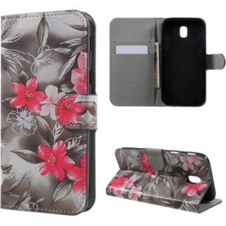 Plånboksfodral Samsung Galaxy J5 (2017) – Svartvit med Blommor